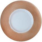 "Charger Plate, 13"" dia, glass, Rose Gold Diamond Rim (hand wash only)"