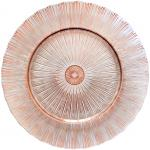 "Charger Plate, 13"" dia, glass, Sunray Design, Decorative Rose Gold (hand wash only)"