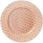 "Charger Plate, 13"" dia, glass, Gem Design, Decorative Rose Gold (hand wash only)"
