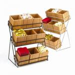 "Tiered Display, 13""W x 9-1/2""D x 17-1/2""H, 3-tier, (9) bamboo bins, black wire frame"