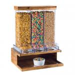 "Madera Cereal Dispenser, 18""W x 14-1/2""D x 24""H, (3) 9.8L capacity bins, pull lever"