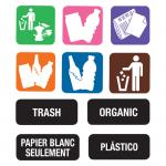 Recycle Label Kit, contains (1) set of eleven color-coded symbol labels and  sets of eleven word