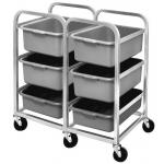 "Bus Box Cart, double section, (6) pan capacity, 7"" spacing between, includes (6) BB5 bus boxes"