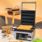 "Sodir-Roller Grill Waffle Baker, electric, single, cast iron plates, ""Cypress"" plate"