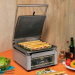 Sodir-Roller Grill Panini Grill, cast iron grooved top & grooved bottom griddle plates