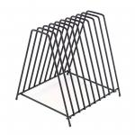 "Cutting Board Storage Rack, holds 10 boards up to 1"" thick, steel construction, black powder"