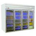 Refrigerator Merchandiser, four-section, self-contained refrigeration, white exterior &#