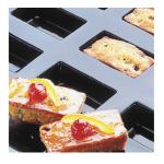 "Flexipan® Cake Mold, 25 per sheet, 3-3/4 oz. cap, 3-1/2""L x 1-3/4""W x 1""H, sheet"