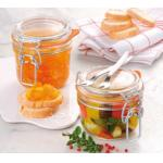 "Appetizer/Jam Jar, 8 oz., 3-1/8"" dia. x 3-1/8""H, with seal and clamp, glass (pack of 6)"