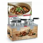 Soup Warmer, double 4 qt. well, without header, double thermostat, stainless steel well &