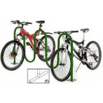 Wave Bike Rack, 7-Bike, free standing, tubular steel with green powder coat finish