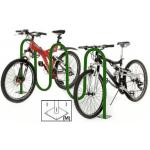 Wave Bike Rack, 7-Bike, flange mount, tubular steel with green powder coat finish