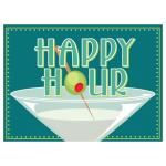 "Magnetic Floor Talker Signage, half size, ""Happy Hour Specials (martini glass)"""