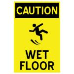 "Magnetic Floor Talker Signage, ""Caution Wet Floor"", 10-3/4"" x 16-1/2"", fade and"