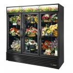 Floral Merchandiser, three-section, True standard look version 01, (6) shelves, powder coated steel