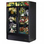 Floral Merchandiser, two-section, (4) shelves, black exterior & interior wit