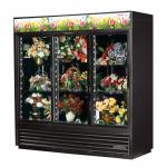 Floral Merchandiser, three-section, (6) shelves, powder coated steel exterior, black interior with