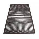 "Floor Mat, 3′ x 5′ x 1/2"" thick, beveled edges, rubber, black &#"